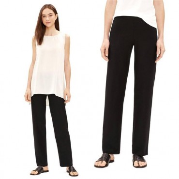 Eileen Fisher Black System Stretch Crepe Textured X-small Pants Business Casual Womens 249685667