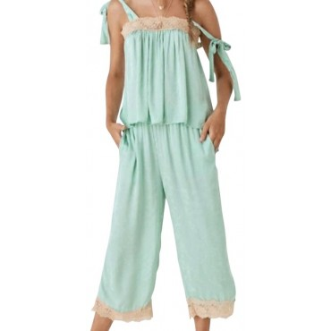 Other Green Jacquard Lace Ocean Pants Women RIWLS9971