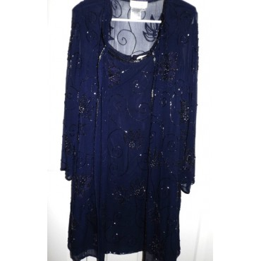 Other Navy Blue Sheath with Sheer Coat Cocktail Dress Formal Womens 0AR5G3688