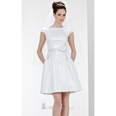 Theia White Cap Sleeve Jacquard Fit & Flare Casual Wedding Dress Business Casual Womens IVCI77737