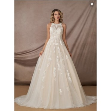Azazie Diamond White/ Champagne Tulle and Lace Melrose Formal Wedding Dress Formal Women LIZ5R1007