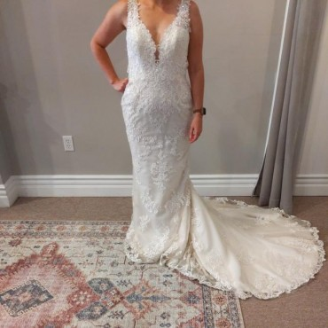 Maggie Sottero Ivory Beaded Embroidered Lace Bernadine Sexy Wedding Dress for Women 4CJAW1809