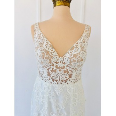 Stella York Ivory Gown Porcelain Illusion 6643 Sexy Wedding Dress Going Out Women NJ6934164